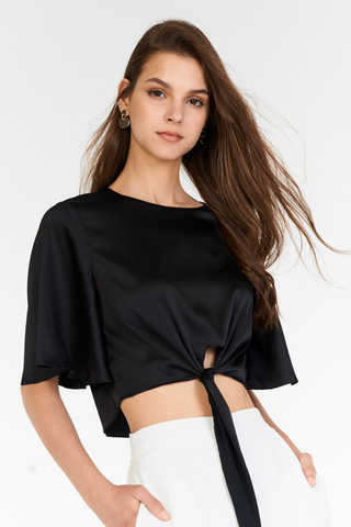 Esmae Tie Front Top in Black
