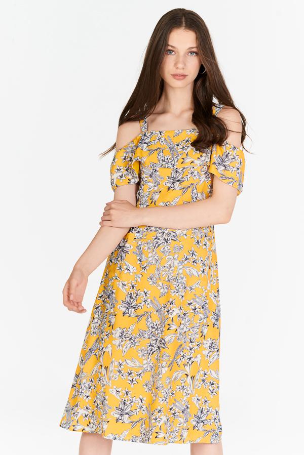 Lorena Floral Printed Midi Dress in Marigold