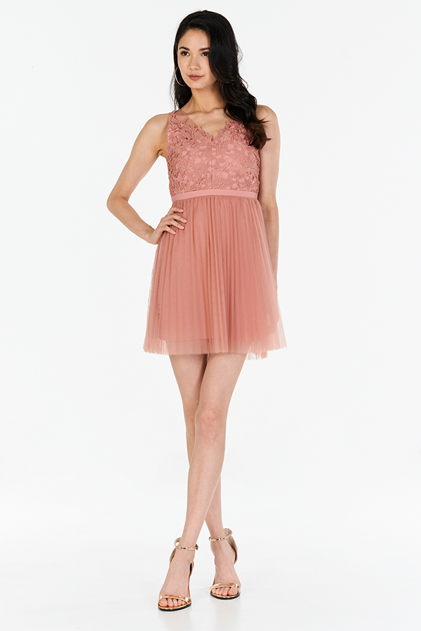 Ellen Pleated Tulle Dress in Rose Pink