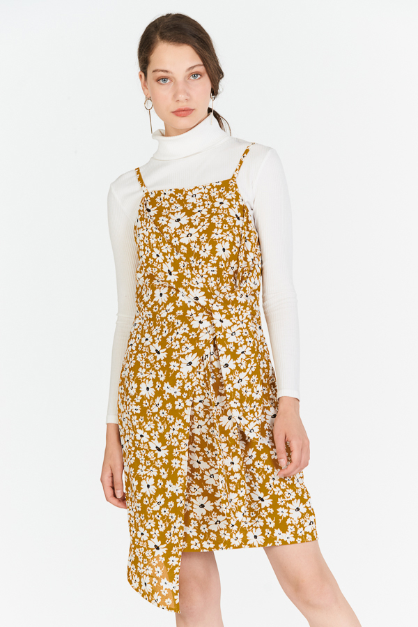Jermaine Floral Printed Dress in Mustard