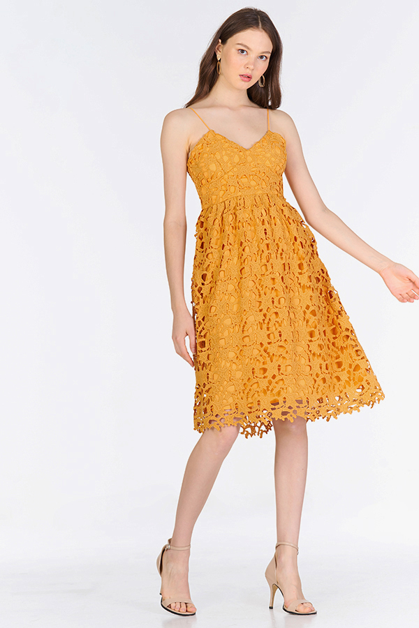 Crochet Enchantment Dress in Marigold