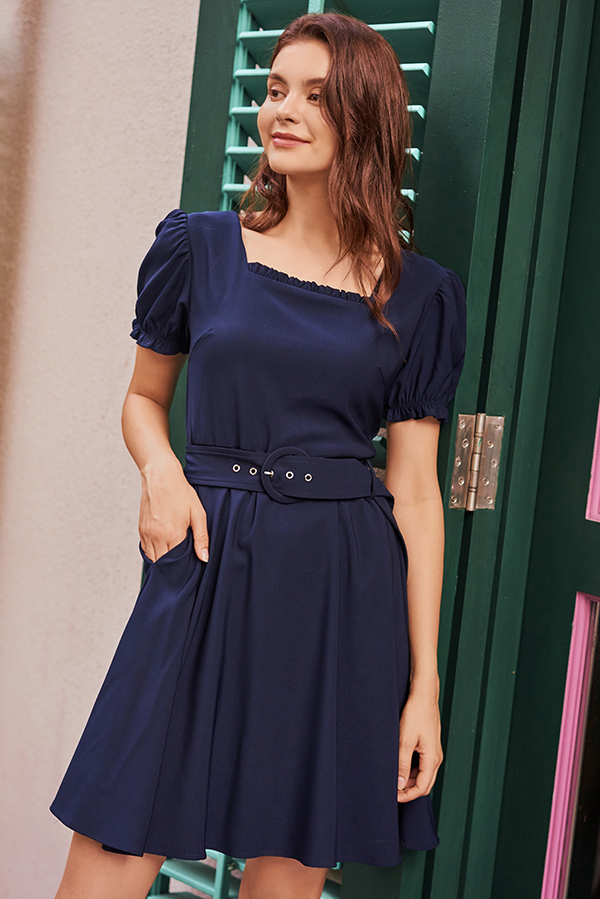 Candolia Belted Dress in Navy