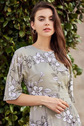 Celin Floral Printed Dress in Sage