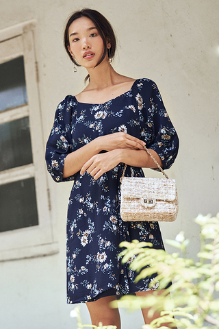 Eunisa Floral Printed Sleeved Dress