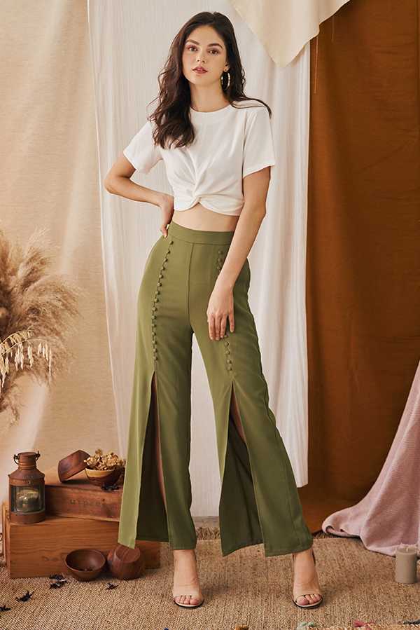 Garina Buttoned Slit Pants in Olive