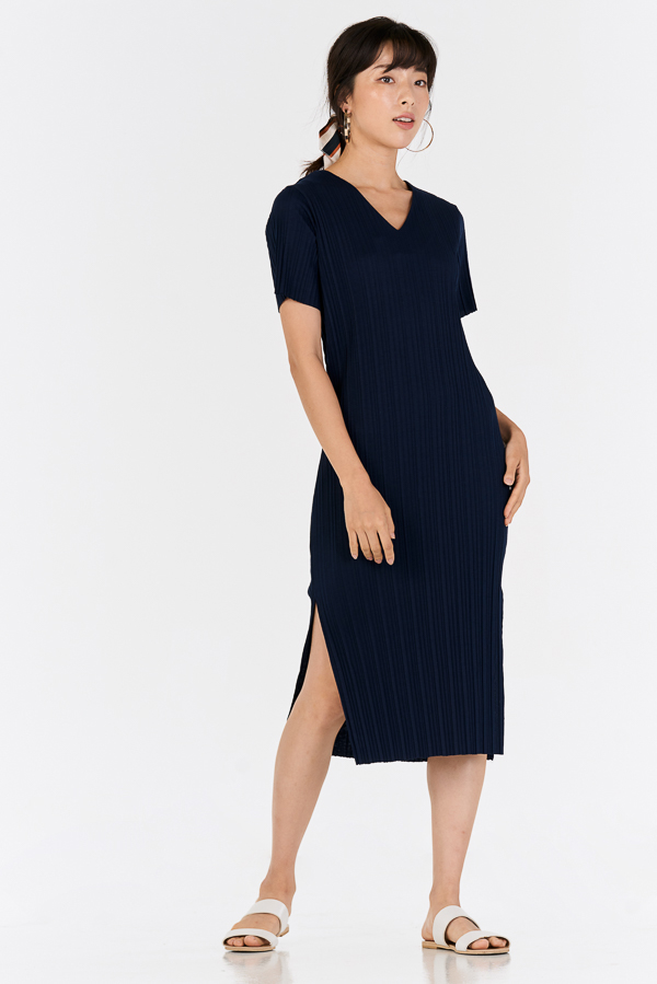*Restock* Eleanor Pleated Dress in Navy