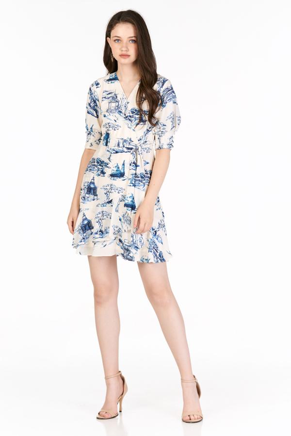 Akeno Wrap Sleeved Dress in Cream