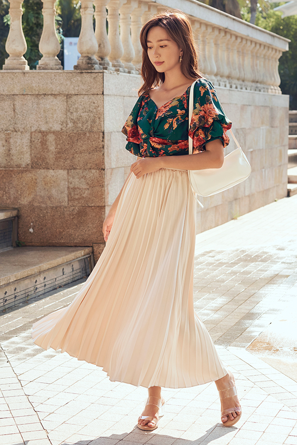 Arella Pleated Maxi Skirt in Cream