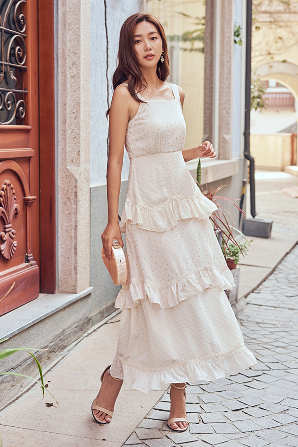 Janessa Dotted Tiered Maxi Dress in Cream