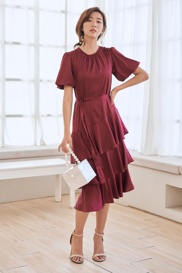 Hilary Ruffled Midi Dress in Wine