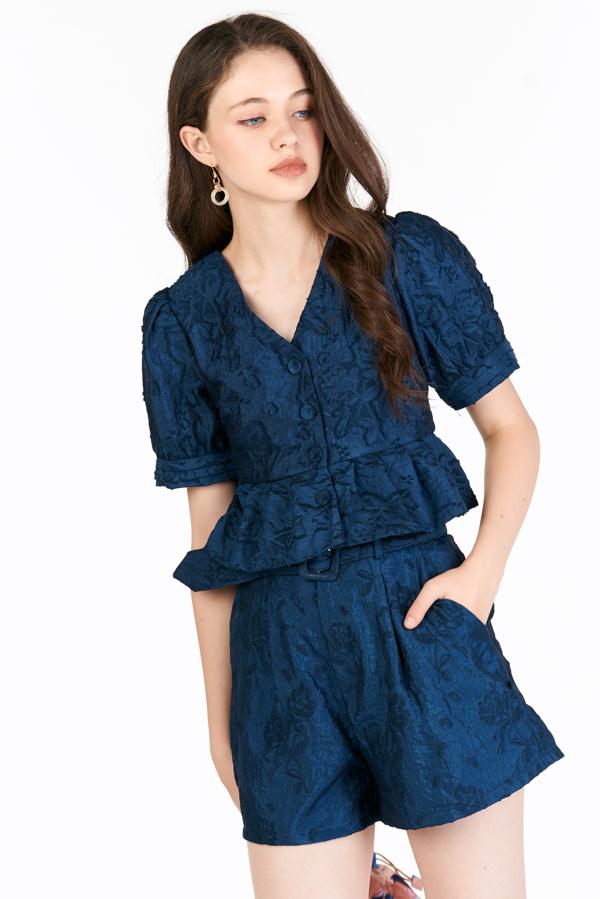 Jolie Embossed Top in Blue