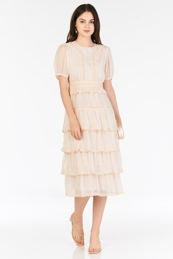 Bourey Crochet Hem Midi Dress in Cream