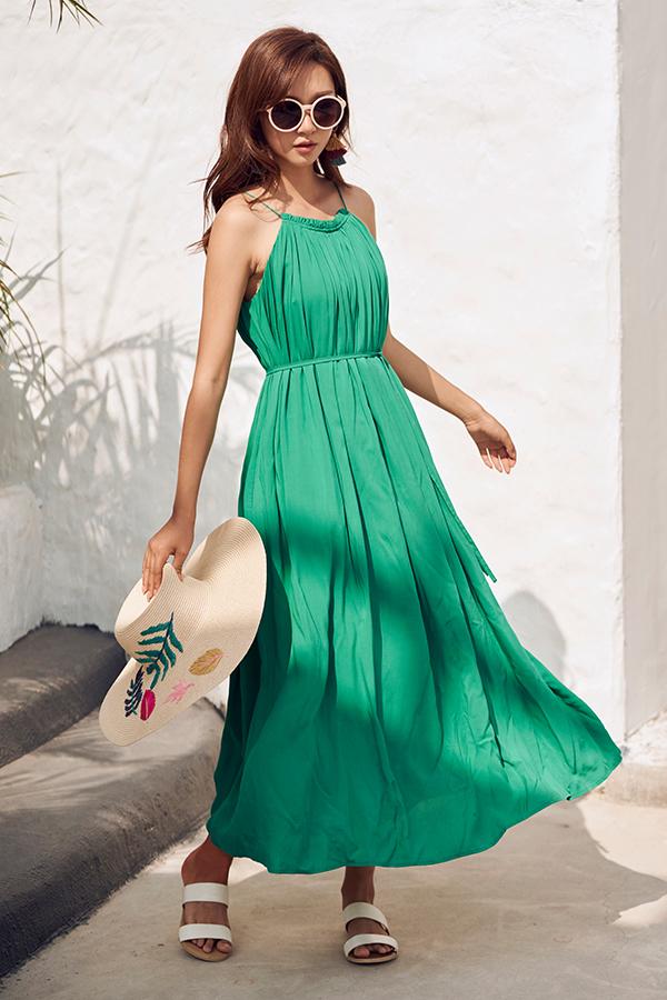 *Restock* Graciela Pleated Maxi Dress in Emerald Green