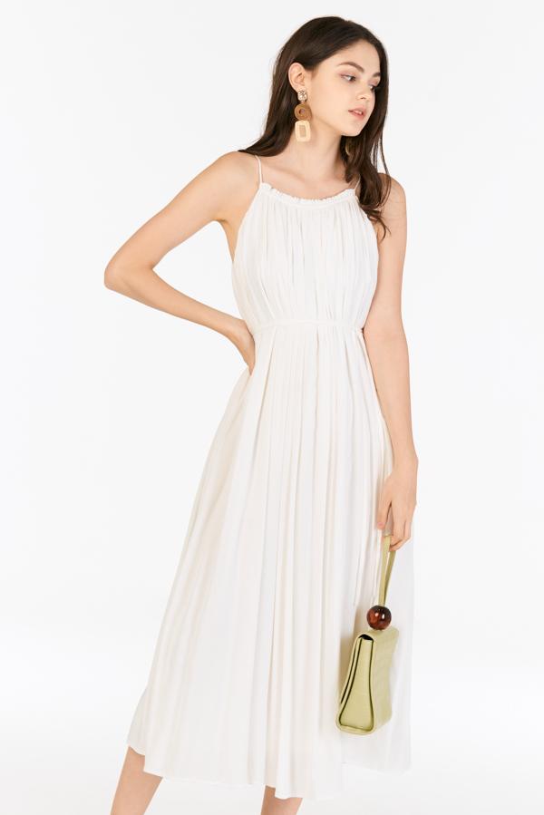 *Restock* Graciela Pleated Maxi Dress in White