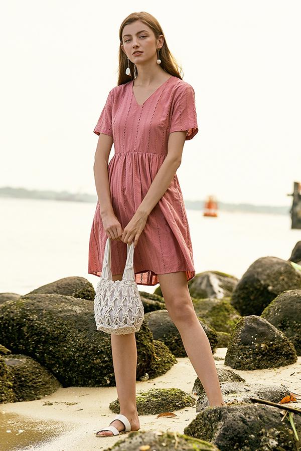 Jensa Eyelet Dress in Pink