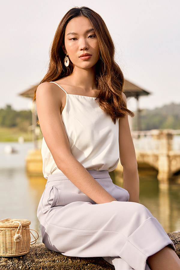 *Backorder 3* Bayson Satin Two Way Top in White