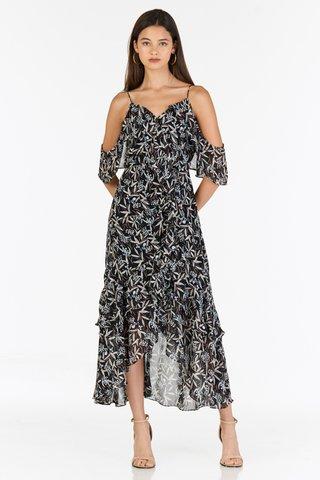 Amalia Ruffled Midi Dress in Black