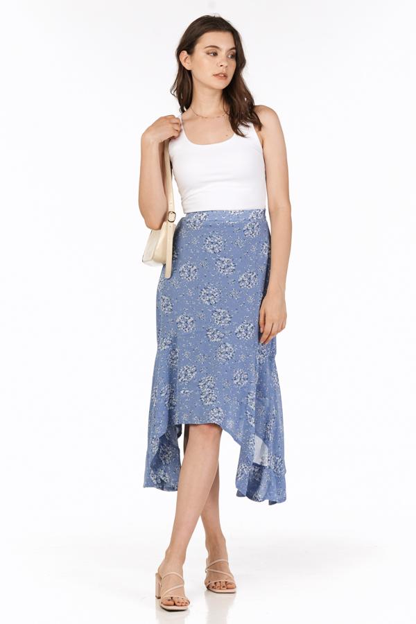 Cassa Ruffled Midi Skirt in Cornflower Blue