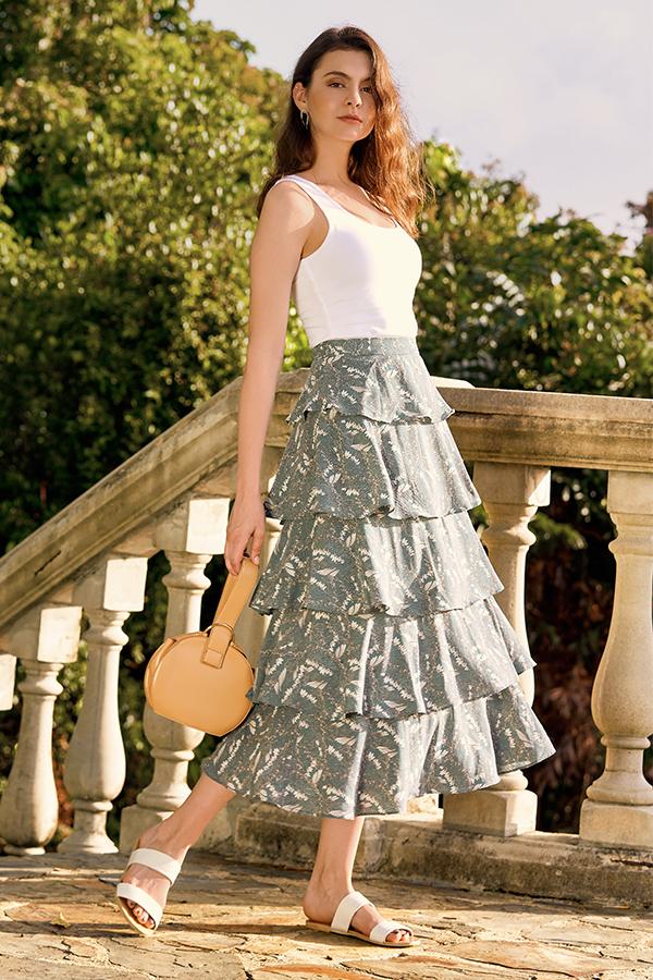 Kassidy Ruffled Midi Skirt in Dusk Teal