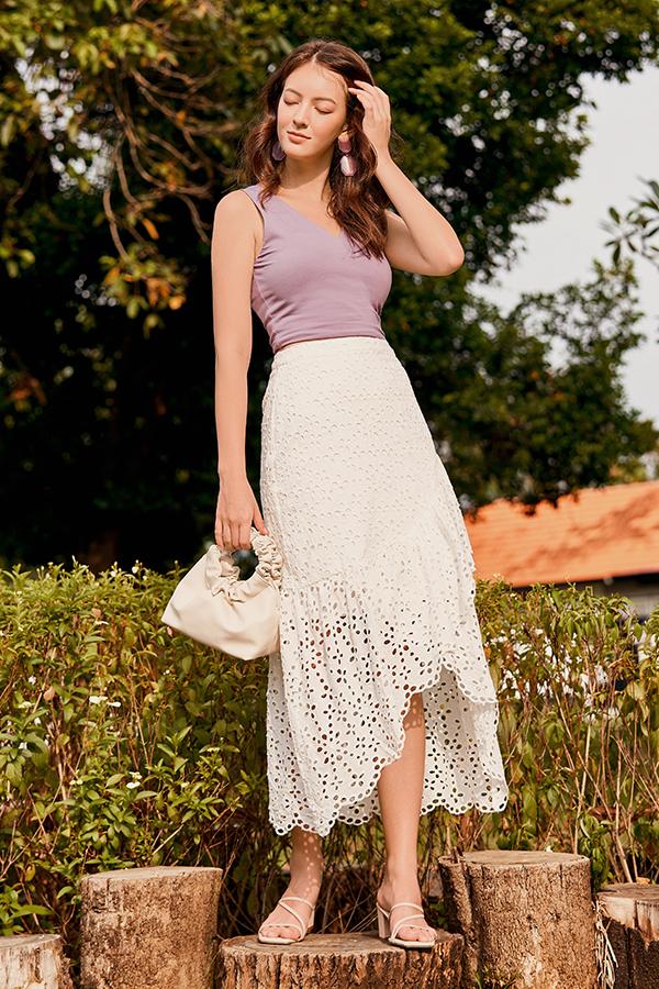 *Restock* Carinna Crochet Midi Skirt in White
