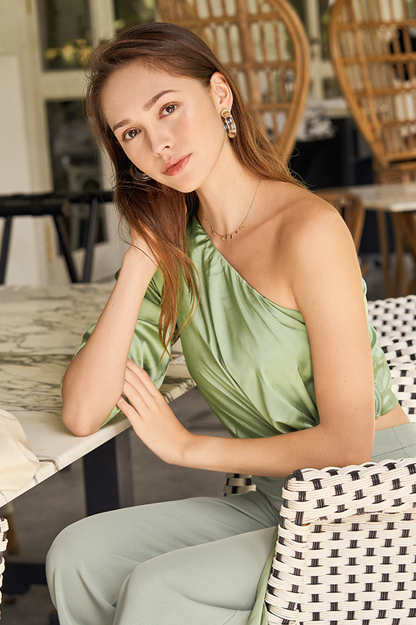 Jayelle Satin Toga Top in Fern