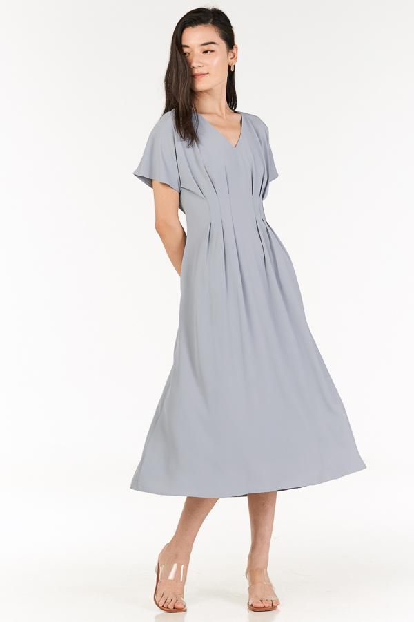Carinne Midi Dress in Dusty Blue