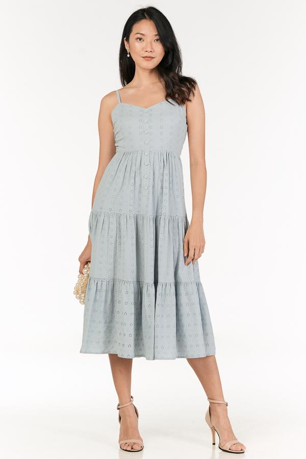 *Restock* Clarida Eyelet Midi Dress in Pastel Blue