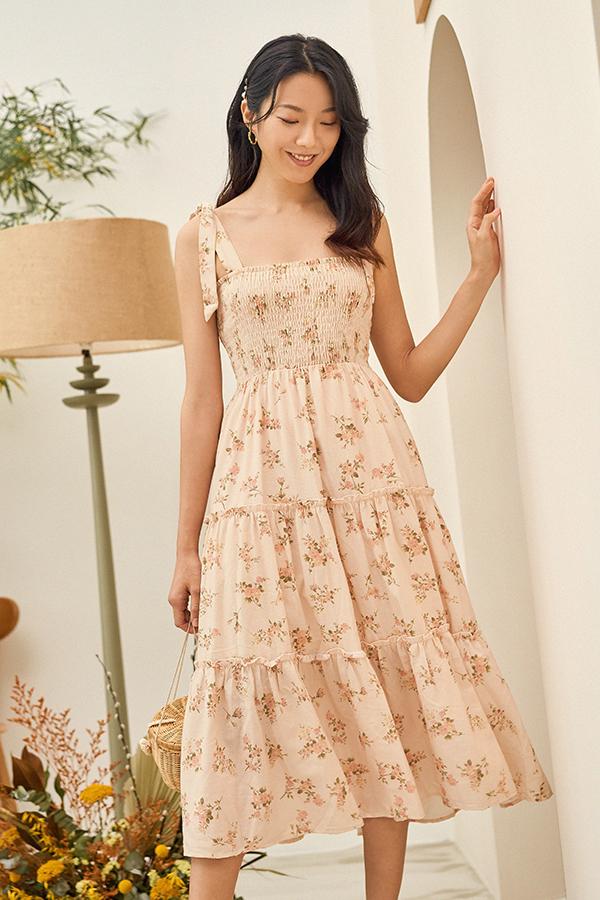 Clarisa Smocked Midi Dress