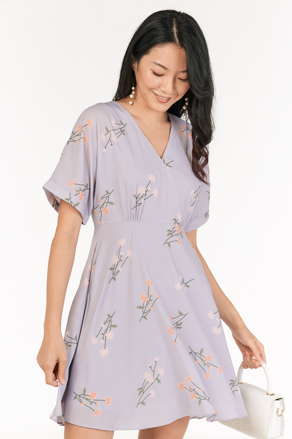 Ranosa Sleeved Dress in Ash Lilac