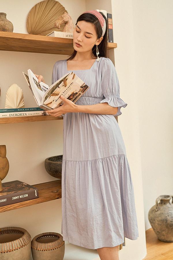 Jenell Midi Dress in Ash Lilac