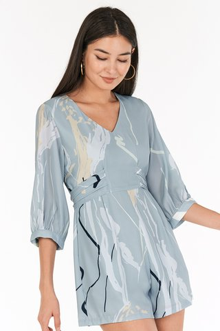 Moments Sleeved Romper in Blue