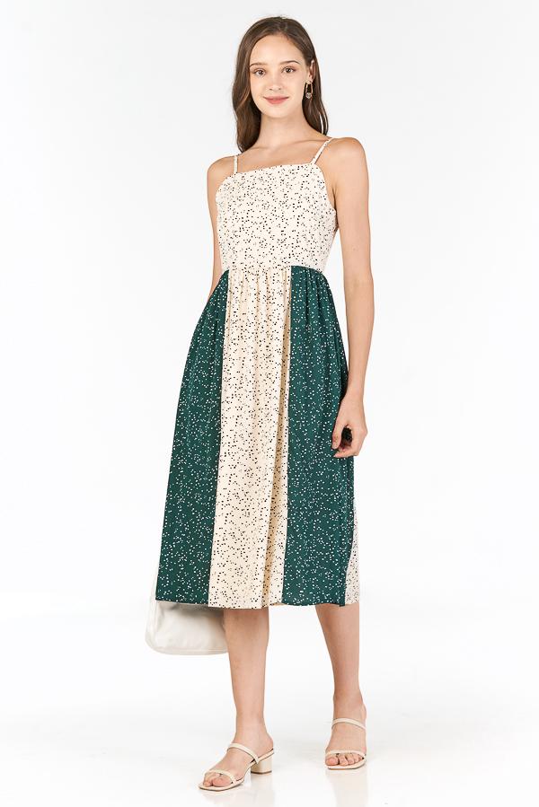 Doreen Colourblock Midi Dress in Green