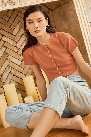 *Backorder* Lida Knitted Top in Terracotta