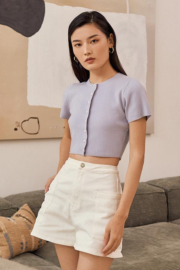 *Backorder* Madigan Denim Shorts in White